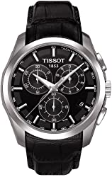 Tissot Men's Couturier T035.617.16.051.00 Black Leather Swiss Quartz Watch with Black Dial