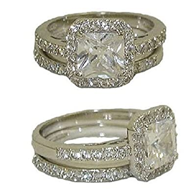 YourJewelleryBox WOMENS 2 PIECE PRINCESS CLEAR SQUARE CUT SIMULATED DIAMOND RING SET RG4356