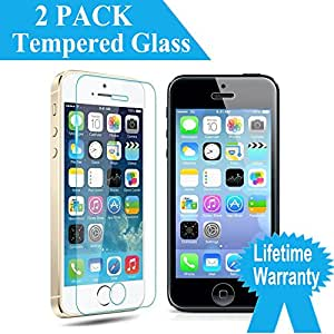 [Lifetime Warranty] [2 PACK] ByBast iPhone 5/ 5S/5C/SE 4 Inch HD Clear Ballistic Screen Protector Bubble Free Anti-shatter Anti-fingerprint Curved Edge For iPhone 5/ 5S/5C/SE [2 PACK]