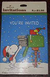 Vintage Hallmark Peanuts Snoopy Holiday Christmas Party Invitations