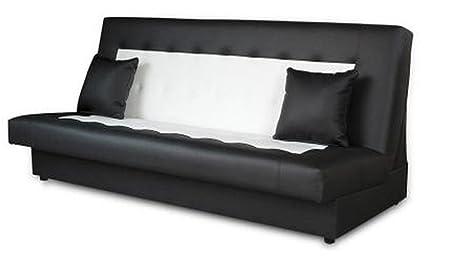 Schlafsofa Funktionssofa Sofa Bett incl. Kissen schwarz weiss mit Bettkasten