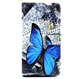 LG G4 Case,JCmax Flip Pocket PU Wallet Leather Case (Built-in Credit Card/ID Card Slot) Cover with Stand Function For LG G4 + One Free Responsive Stylus and One Free Screen Protector Flim-[Black] [Butterfly Design]
