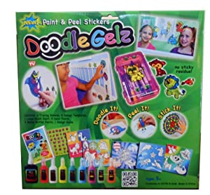 Doodle Gelz Paint & Peel Stickers 20-piece Set Non-Toxic As Seen on TV Conforms to ASTM D-4236