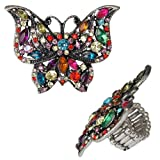 Butterfly rhinestones Ring color: multicolor