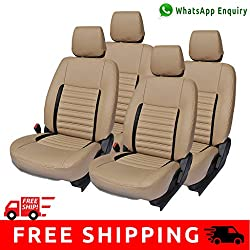 Autofact Brand PU Leatherite Car Seat Covers for Maruti Car 800 Old Model in Full Beige and Black Strips