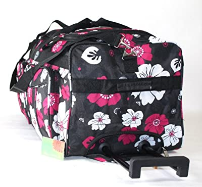 "Small 18"" Medium 20"" Large 26"" Extra Large 30"" Wheeled Holdall Luggage Suitcase Flight Bag ***FLORAL***HEARTS***(30"", Black Flowers)"