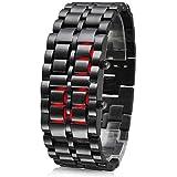 TRIXES Modern LED Digital Lava Faceless Samurai S/Steel Bracelet Wrist Watch