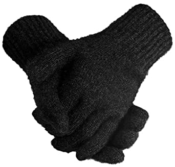 New Zealand Wool/Brushtail Possum Blend Gloves Unisex Medium Ebony