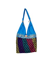 Womaniya Canvas Blue Handbag For Women(Size-32 Cm X 32 Cm X 10 Cm) - B00SJ1J1RK