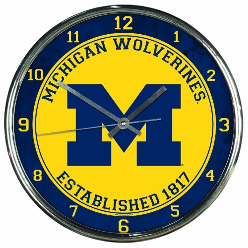 NCAA Michigan Wolverines Chrome Clock