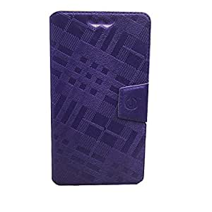 J Cover Krish Series Leather Pouch Flip Case With Silicon Holder For Smartron t.phone Purple