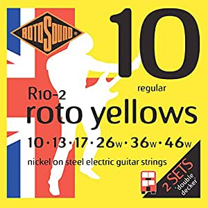 rotosound roto yellows double deckers electric guitar strings 2 pack musical. Black Bedroom Furniture Sets. Home Design Ideas