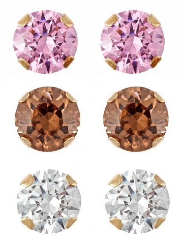 10k Gold White, Pink and Chocolate Cubic Zirconia Stud Earrings, Set of 3