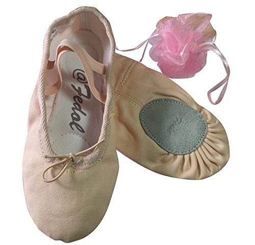Lady's Pink Canvas split-sole Ballet Slippers --6 M (Womens Split Sole Ballet Slipper compare prices)