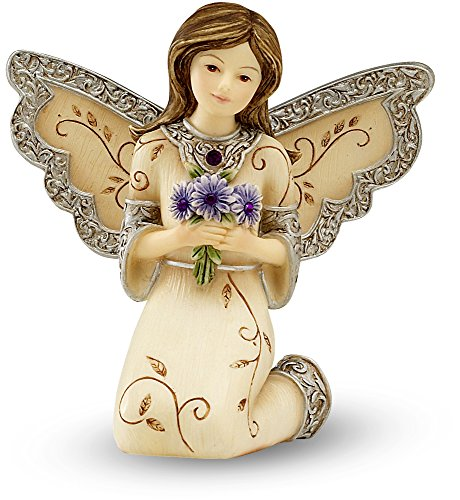 Elements February Monthly Angel Figurine, Includes Amethyst Birthstone, 3-Inch