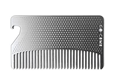 go-comb Bottle Opener Edition/Premium Ultra Thin Wallet Comb Fine Tooth Stainless Steel