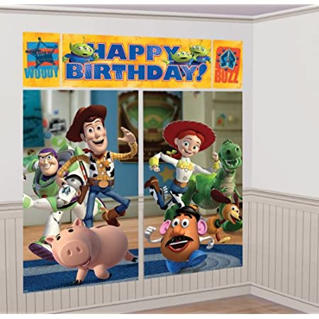"""The Disney Toy Story 3 Wall Decorating Kit can set the scene and mood for a great party. The kit includes two plastic posters, two large portrait sized posters, and a banner. Combined it measures 59x65"""""""