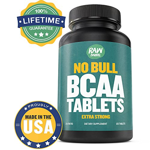 Raw Barrel's - Pure BCAA Tablets - EXTRA STRONG 1000mg Per Tablet - SEE RESULTS OR YOUR MONEY BACK - 120 Pills, 2:1:1 Branched Chain Amino Acid Ratio - *FREE* digital guide (Customer Factory Blueprint compare prices)