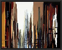 30in x 24in Urban Abstract No.165 by Gregory Lang - Black Floater Framed Canvas w/ BRUSHSTROKES