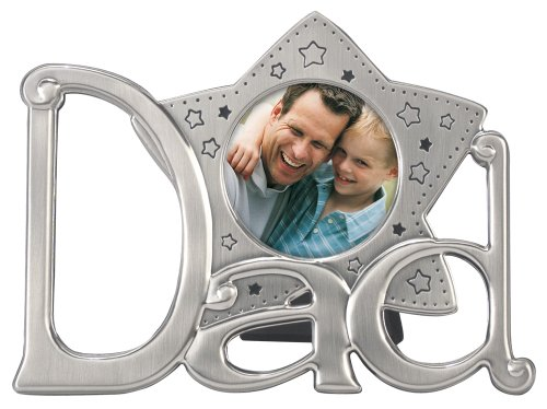 Malden International Designs Metal Icon Shiny Pewter Dad Star Picture Frame, 3 By 3-Inch front-998010