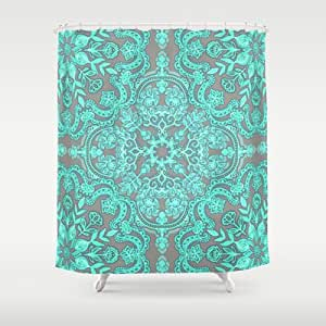 Society6 mint green grey folk art pattern shower curtain by micklyn home kitchen - Mint green kitchen curtains ...