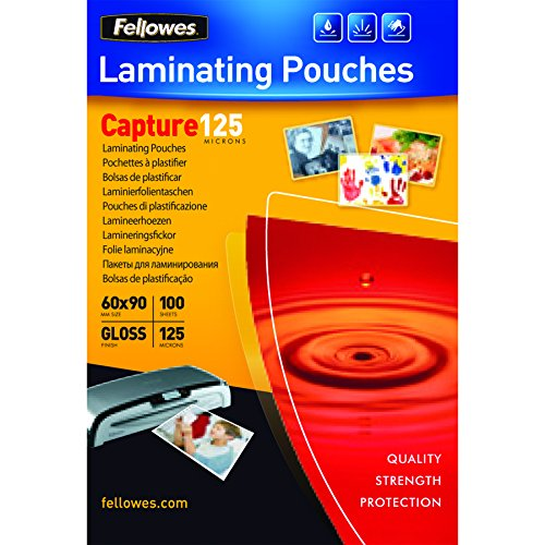 Fellowes Capture 60x90mm 125 Micron Glossy Laminating Pouches (Pack of 100)
