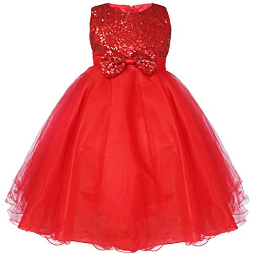 FEESHOW Little Girls' Sequined Wedding Party Pageant Princess Flower Tulle Dress Size 8 Red
