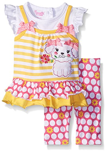 Nannette Little Girls 2 Piece 2fer Look Top Playwear Set, Yellow, 6-9 Months