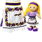 Oh Gussie Girls' and Doll's Pansy Half Apron Set