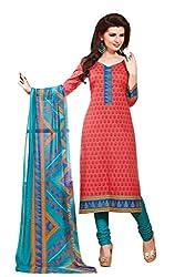 PADMiNi Ethnicwear Women's Dress Material Red 1010