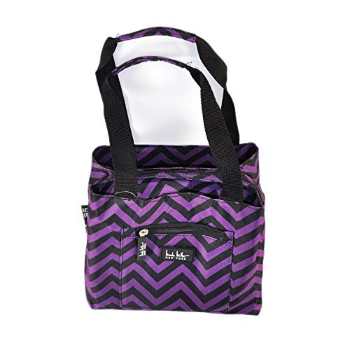 nicole-miller-new-york-insulated-cooler-lunch-tote-purple-black-chevron-by-nicole-miller
