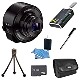 Sony DSC-QX10/B DSC-QX10 DSCQX10B QX10 QX10B (Black) Smartphone Attachable 4.45-44.5mm Lens-Style Camera BUNDLE with 16GB High Speed Micro SD Card, Carrying Case, Smartphone Stylus, Table Tripod, All in One USB Card Reader and Lens Cleaner