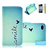 iPhone 4 Case, iPhone 4S Case Tradekmk(TM) Printed Series Light Color Design PU Leather Stand Wallet Slim Fit Shell Cover with Card Holder Compatible with Apple iPhone 4/4S[+Stylus+Screen Protector+Cleaning Cloth]-(RF) thumbnail