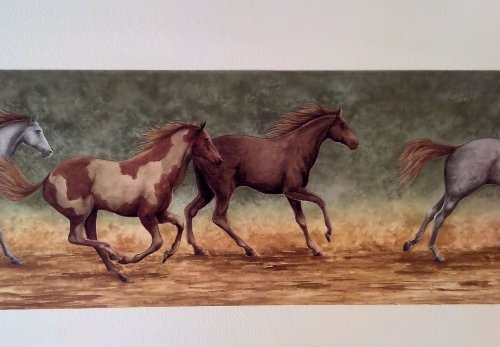 Wallpaper Border Running Wild Horses on Tan and Green