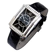 Hot Sale Xezo Mens Architect Swiss Made Curved Automatic Watch in Art-Deco Style. Genuine Black Crocodile Leather. Double-curved Sapphire Crystal Glass. Handcrafted Case. 165 FT Water-Resistant. Individually Numbered