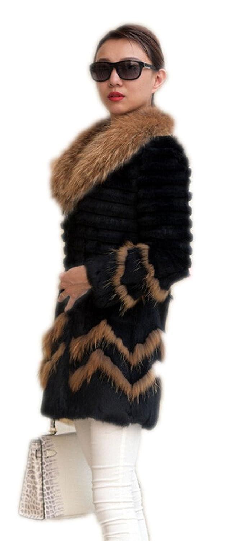 YR.Lover Damen Echt Kaninchen Pelz Slim Down Mantel&Jacke Mit Waschb?r Pelz Kragen jetzt kaufen