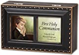 First Communion Boy Cottage Garden Distressed Black Petite Music Box
