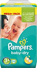 Pampers Windeln Baby Dry Gr. 3+ Midi Plus 5-10 kg Mega Plus Pack (1 x 104 Stück)