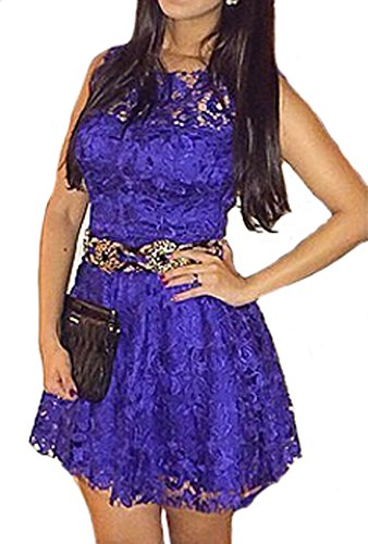 Vakind® Women Sexy Sleeveless Lace Bodycon Evening Party Short Mini Dress (Xl=Us12)