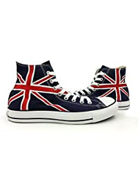 Hand Painted Union Jack Unisex Converse All Star Shoes Flag Sneakers Navy Blue High Top Canvas