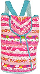 Exotic India Pink and Green Floral Printed Backpack from Dehradun with Pa - Pink