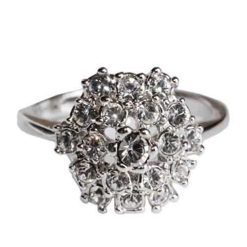 Fashion Plaza 18k White Gold Plated Use Swarovski Multi-Crystal Engagement Spark Ring R48 Size 6