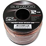 GLS Audio Premium 12 Gauge 25 Feet Speaker Wire - True 12AWG Speaker Cable 25ft Clear Jacket - High Quality 25' Spool Roll 12G 12/2 Bulk