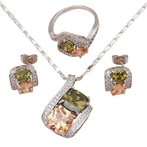 Bling fashion matrimonio accessori Pendientes color cristallo argento filled fine Fashion Jewelry Set collana orecchini anello taglia 6789js564a