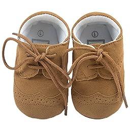 Baby Lace Up Brogue Shoes Anti Slip Soft Sole Medallion Wingtip Nubuck Crib Dress Shoe Moccasins Size S