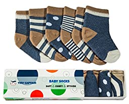 Tiny Captain Boys Baby Socks (6 PACK) For Babies, Infants, and Toddlers 10 Months to 24 Months (Small, Navy Blue)
