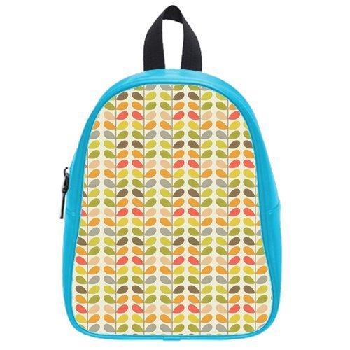 Retro Orla Kiely Leaves Custom Casual Backpack Students School Bag Laptop Bag Hiking Bag Outdoor Sports Backpacks (Large)