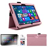 DURAGADGET Fashionable Pink Faux Leather Folio Case With Built In Stand Custom Designed For The Microsoft Surface 10.6 Inch Tablet Hybrid PC (With Windows RT, 32GB, 64GB, Type Cover Keyboard) + FREE Gift: Screen Protector Worth £3.99 + BONUS Cleaning Cl