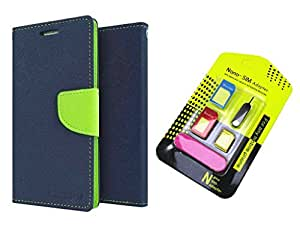 MAX JIO Wallet Flip Cover For Micromax Bolt Q324 (BLUE) With Nano Sim Adapter