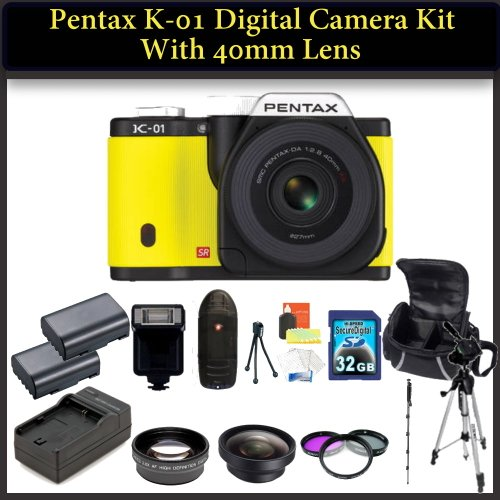Pentax K-01 Digital Camera Kit. Package Includes: Pentax K-01 with 40mm Lens (Yellow), 0.45X Wide Angle Lens, 2X Telephoto Lens, 3 Piece Filter Kit(UV-CPL-FLD), 32GB Memory CArd, 2 Extended Life Replacement Batteries and More..!